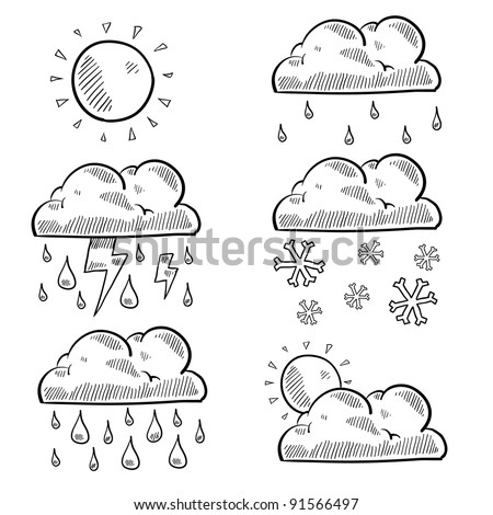 Doodle style clouds and weather illustration in vector format. Set includes rain, shine, snow, storm, cloudy, and lightning. - stock vector