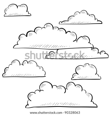 Doodle style clouds or weather vector illustration - stock vector