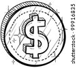 Doodle style coin with currency symbol - American dollar - stock vector