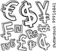 Doodle style coin with currency symbol set including euro, dollar, yen, pound, cent, ruble, won, yuan, shekel, and franc - stock photo