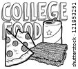 Doodle style college food illustration with pizza, ramen noodles, and beer can in vector format. - stock vector