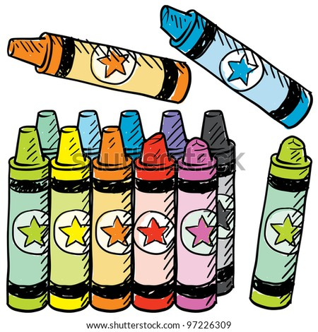 Doodle style colorful crayons sketch in vector format - stock vector