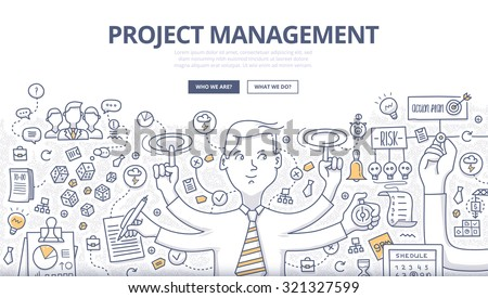 Doodle style concept of project management, organizing, controlling company resources, risks, achieving project goals. Modern line style illustration for web banners, hero images, printed materials - stock vector