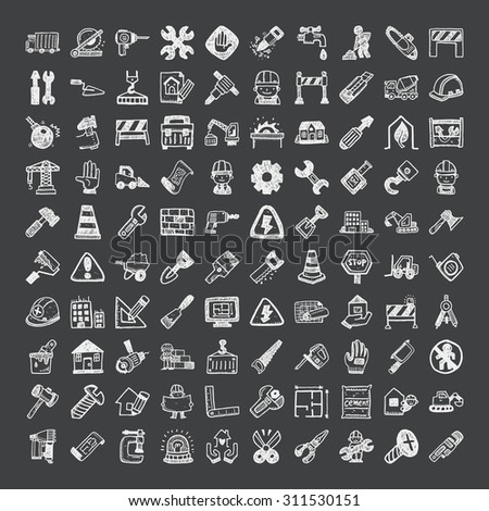 doodle style construction icons - stock vector
