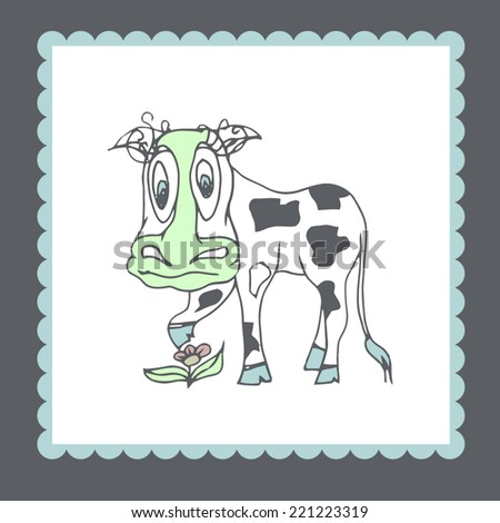 Doodle style cow in pastel colors - stock vector
