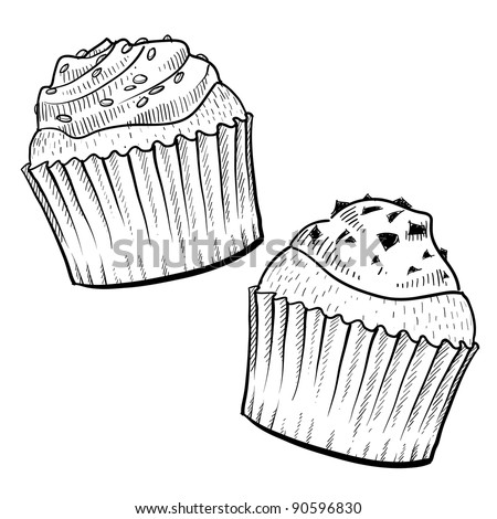 Doodle style cupcakes with frosting illustration in vector format