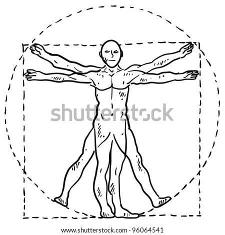 Doodle style Da Vinci human body in motion illustration with circle and square in vector format - stock vector