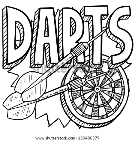 Doodle style darts sports illustration.  Includes text, dartboard, and darts. - stock vector