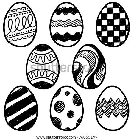 Doodle style decorated easter egg collection.  Each egg is decorated with a different pattern.  Vector file for editing and scaling. - stock vector