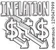 Doodle style deflation or inflation decreasing illustration in vector format.  Includes title text, along with down arrows and dollar signs. - stock vector