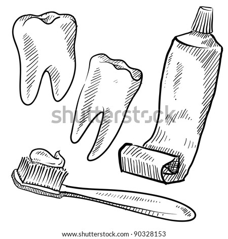 Doodle style dentist vector illustration with teeth, toothpaste, and toothbrush - stock vector