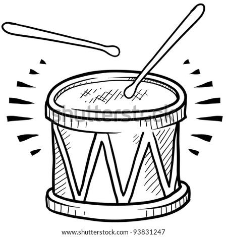 Doodle style drum sketch in vector format - stock vector