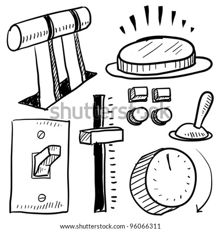 Doodle style electricity equipment in vector format.  Set includes level, button, slide, switch, and faceplate. - stock vector