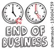 Doodle style end of business illustration in vector format.  Includes text and clocks indicating 5:00 PM. - stock vector