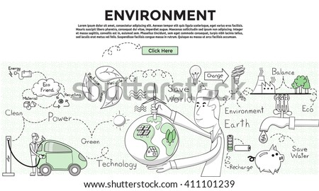 Doodle style. Environment concept. Modern line style concept for web banners. ecology, energy, green, technology, recycle, reuse, reduce, idea. - stock vector