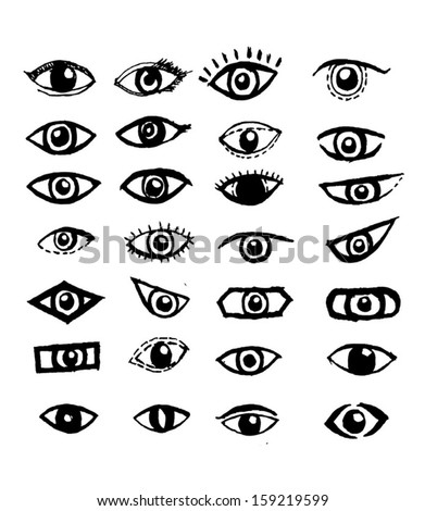 Doodle style eyes sketch  - stock vector