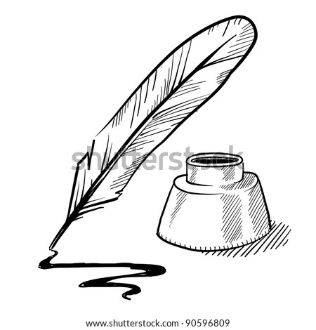 Doodle style feather quill pen and ink well illustration in vector format - stock vector