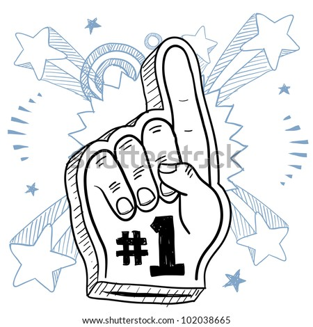 Doodle style foam finger used in stadiums and ballparks to cheer on a team.  Vector format.