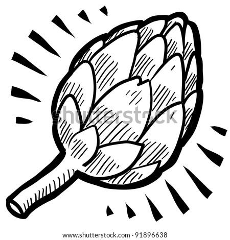 Doodle style fresh artichoke illustration in vector format - stock vector