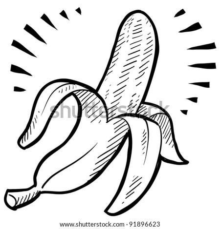 Doodle style fresh banana illustration in vector format - stock vector