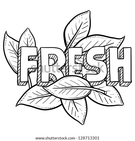 Doodle style fresh food or agriculture illustration in vector format.  Includes text and natural leaves.