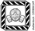 Doodle style gas mask or chemical warfare warning illustration in vector format - stock vector