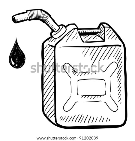 Doodle style gasoline can illustration in vector format suitable for web, print, or advertising use. - stock vector