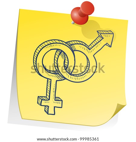 Doodle style gender - heterosexual relationship - symbols on yellow sticky note background - stock vector