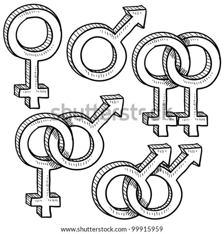 Doodle style gender symbols indicating types or relationships - gay, straight, and broken up - stock vector