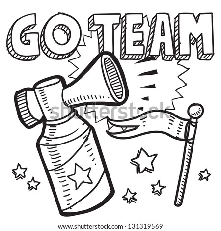 Doodle style go team announcement icon in vector format.  Sketch includes text, air horn, and flag. - stock vector