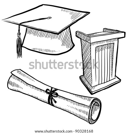 Doodle style graduation or school vector illustration with cap, podium, and diploma scroll - stock vector