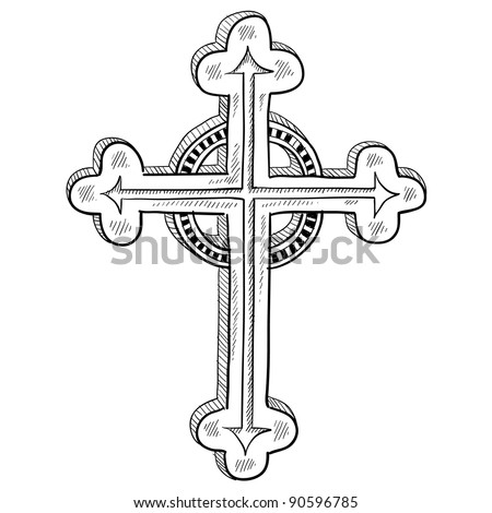 Doodle style Greek Orthodox cross illustration in vector format - stock vector
