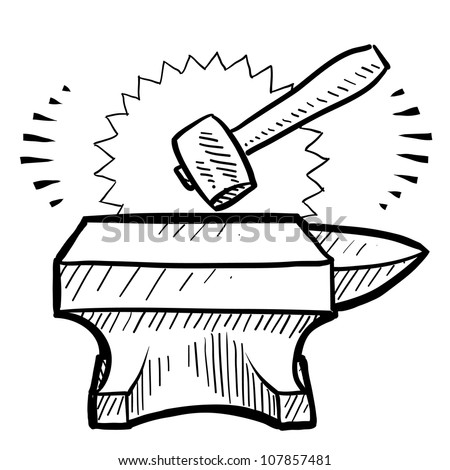 Doodle style hammer and anvil  sketch in vector format.