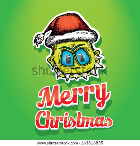 doodle style hand drawn monster. merry christmas creative card - stock vector