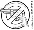 Doodle style handgun ban or gun control illustration in vector format.  Includes a revolver surrounded by a circle with a line through it. - stock photo