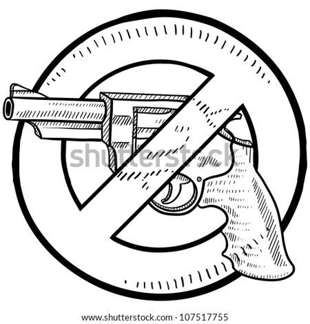 Doodle style handgun ban or gun control illustration in vector format.  Includes a revolver surrounded by a circle with a line through it. - stock vector
