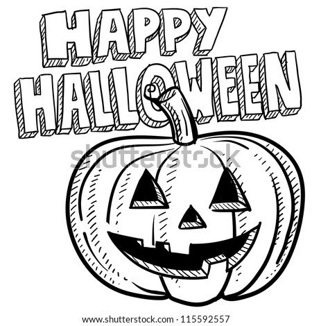 Doodle style Happy Halloween jack-o-lantern illustration in vector format.