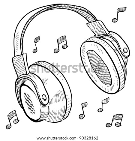 Doodle style headphones vector illustration with musical notes - stock vector