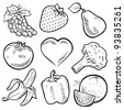 Doodle style healthy fruits and vegetables sketch in vector format. Set includes grapes, strawberry, pear, apple, tomato, heart, broccoli, banana, pepper, and orange - stock vector