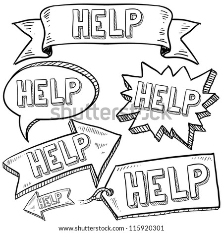 Doodle style Help message tags, labels, banners and arrows in vector format. Can be used as an overlay, as background, or for a sticker effect on web or print materials. - stock vector