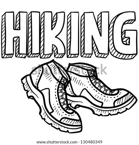 Doodle style hiking outdoor sports illustration.  Includes text and hiking boots. - stock vector