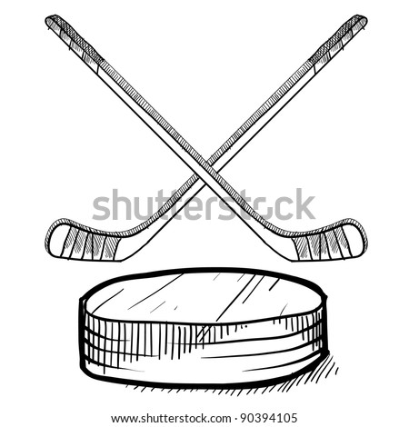 Doodle style hockey vector illustration with sticks and puck - stock vector
