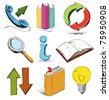 Doodle style icons. Telephone, arrows, books erc - stock vector