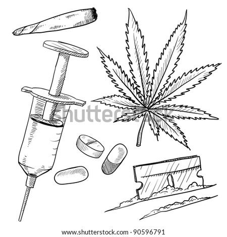 Doodle style illegal drugs illustration in vector format including pot, heroin, cocaine, and joint - stock vector