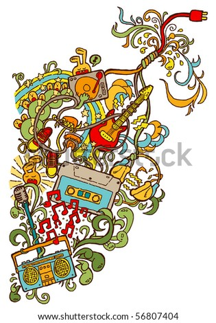 Doodle-style illustration consisting of music-related items. - stock vector