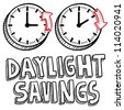 Doodle style illustration of Daylight Savings Time, including clocks moving forward and backwards to illustrate the time change. Vector format. - stock photo