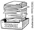 Doodle style inbox image with a huge pile of documents to be processed, indicating business, work, or stress - stock vector