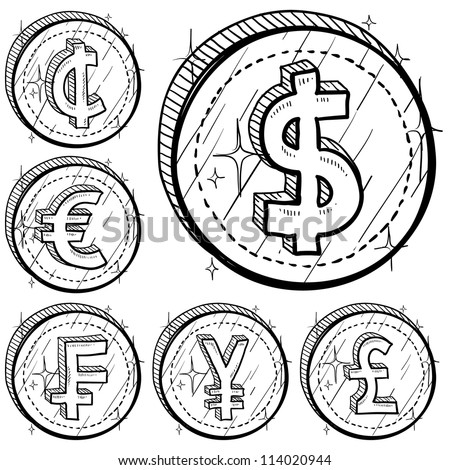 Doodle Style International Currency Symbol Coins Stock Vector ...