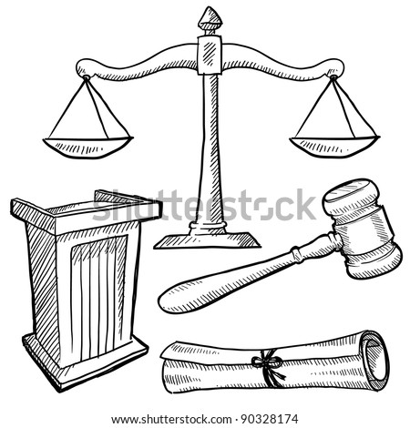 Doodle style justice or law vector illustration with podium, gavel, and scales of justice - stock vector