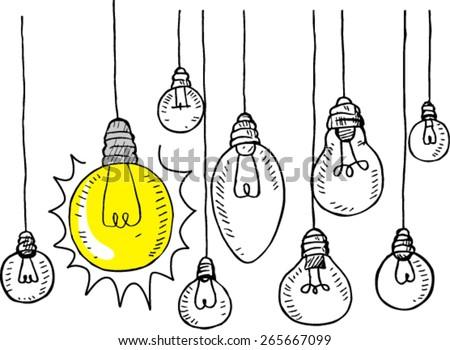 doodle style light bulb vector illustration - stock vector